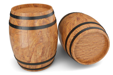 3D Illustration two wooden barrels isolated on white background. Alcoholic drink in wooden barrels, such as wine, cognac, rum, brandy.