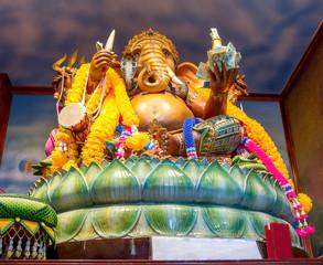 statue of the god Ganesha, interior of monastery Wat Sakhla