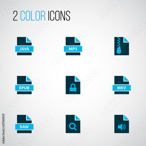 Types icons colored set with fie raw, file mp3, file mkv and