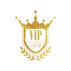 VIP club logo design, luxury golden badge for boutique, restaurant, hotel vector Illustration on a white background