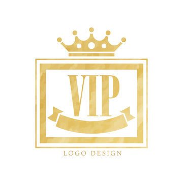 VIP club logo design, luxury golden elegant badge for resort, boutique, restaurant, hotel vector Illustration on a white background