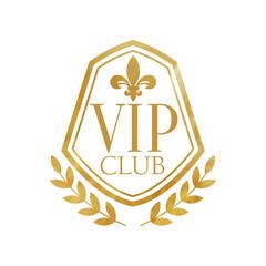 VIP club, luxury golden badge for resort, boutique, restaurant, hotel vector Illustration on a white background