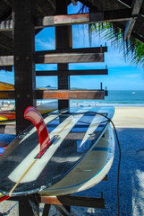 Surfboard on Ipanema beach, Rio de Janeiro
