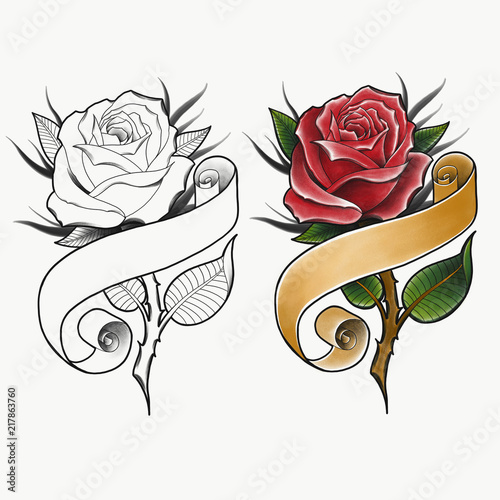 Red Rose With Banner Traditional Tattoo Design Hand Drawn Old