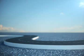 Road way. Travel, transportation concept. Asphalt road divided by a strip. 3D illustration