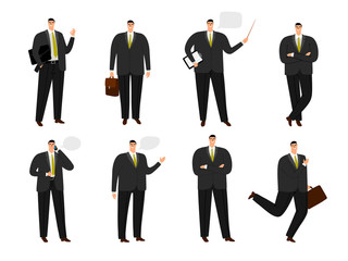 Vector businessman character. Office working man collection isolated on white, cartoon business man set in standing and jumping poses