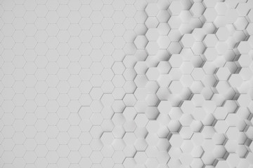 3D illustration white geometric hexagonal abstract background. surface hexagon pattern, hexagonal honeycomb.