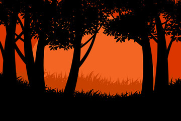 Beautiful silhouette tree forest scene vector nature landscape backgrounds