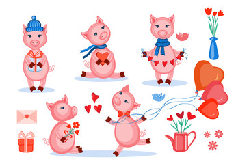 Lovers pigs vector set kid cartoon animal pose, domestic cute piggy isolated on white, farmer animals, Character design for greeting card, children invitation, creation of alphabet, valentines days