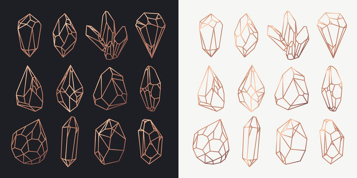 Crystals and diamonds, gems and rocks contour