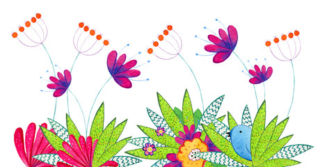 Hand drawn watercolor illustration with cartoon decorative flowers, plants and bird. Illustration for children prints, posters and cards