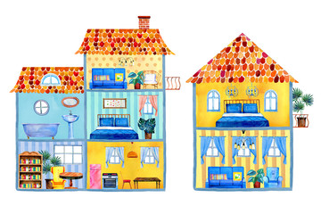 Inside view of different cartoon houses with furniture and decorations. Hand drawn watercolor illustration