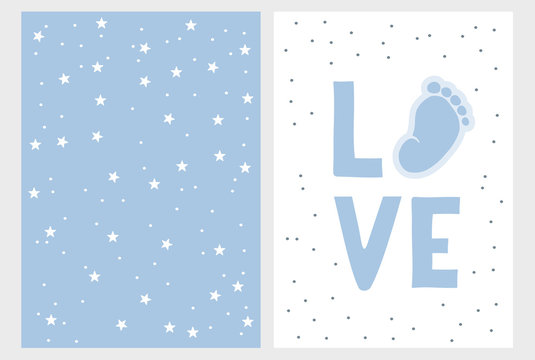 Cute Baby Shower Vector Card. Hand Drawn Baby Shower Vector Illustration Set. Cute Little Baby Foot, Blue Love. White Background. Light Blue Pastel Simple Design.