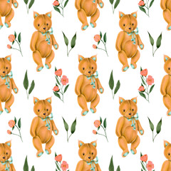 Seamless pattern with hand-painted soft plush toy fox and pink flowers on a white background