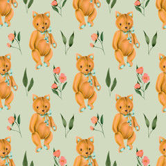 Seamless pattern with hand-painted soft plush toy fox and pink flowers on a grey background