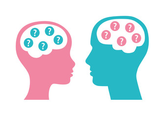 Man and woman heads with questions in brain silhouette icons. Gender equality issue illustration.