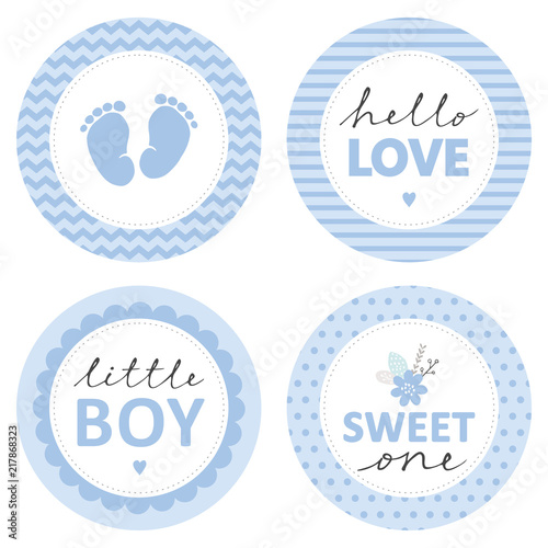 Cute Baby Shower Vector Sticker Round Tags Blue Color Baby Feet