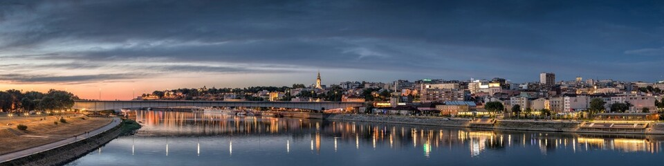 Belgrade, Old City, Cathedral, Branco's Bridge Sava River at Dusk, City Lights Water Reflections