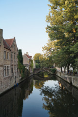 reflection with bridge in Brugges