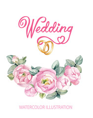 Watercolor drawing. Flower arrangement of pink roses with wedding rings.