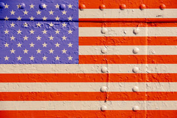 American flag on rusty metal background