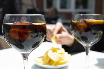 vermouth and chips, typical appetizer in Catalonia