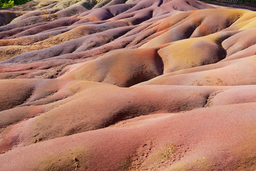 Unique Seven Coloured Earths in Chamarel at Mauritius island.