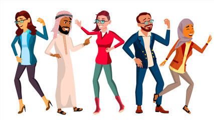 Dancing People Set Vector. Friends Disco Party. Happy People Celebrate. Isolated Flat Cartoon Illustration
