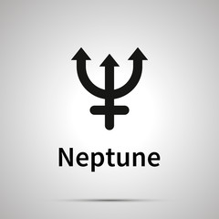 Neptune astronomical sign, simple black icon with shadow on gray