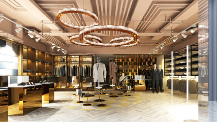3d render of fashion dress store
