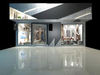 3d render of fashion shop exterior