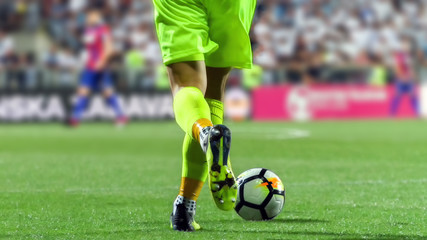 Soccer goalkeeper with the ball