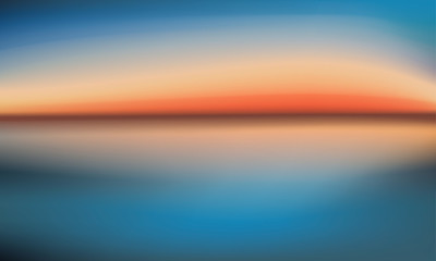 Vector background sunset over the sea in blue and orange tones