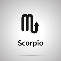 Scorpio astronomical sign, simple black icon with shadow on gray