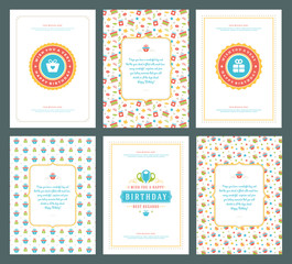 Happy Birthday greeting cards typographic design set vector illustration.