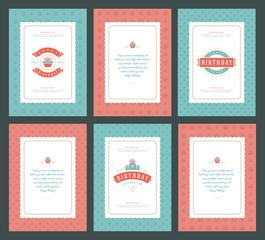 Happy Birthday greeting cards typographic design set vector illustration.
