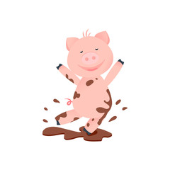 Vector Illustration. Cartoon funny pig. Piglet in dirt. Happy pig