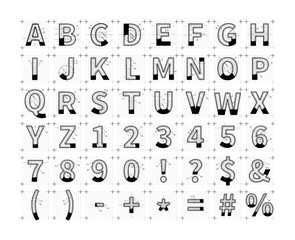 Architectural sketches of latin letters. Blueprint style font on white