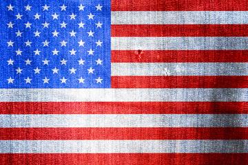 American flag on a denim fabric background