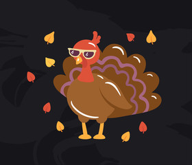 Autumn turkey illustration on blackboard background. Seasonal fall picture with really cool turkey in sunglasses surrounded by falling leaves. Concept for thanksgiving day or farm