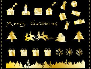 クリスマス イラストセット ゴールド