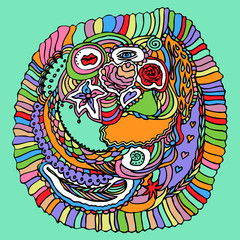 Colorful Zentangle Doodle vector