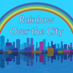 Urban Landscape, Background with Megapolis City, Cartoon Buildings and Big Bright Colorful Rainbow in Sky Reflecting in Blue Sea. Eps10, Contains Transparencies. Vector