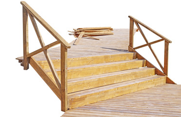 wooden staircases with railings