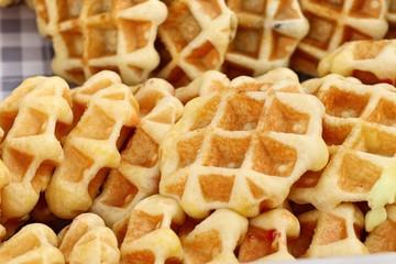 tasty sweet waffle in street food