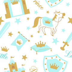 Cute boyish seamless pattern with royal cliparts. Vector blue baby background with crown and star. Backdrop for little prince party (invite card, fabric, wrapping paper) Nursery wallpaper and textile