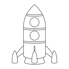 Rocket. Cartoon outline drawing