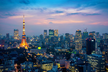 Wall Mural - Aerial view of Tokyo cityscape at night in Japan.