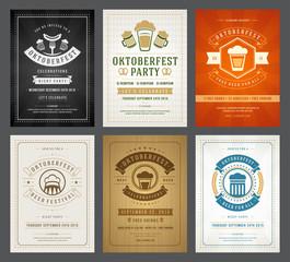 Oktoberfest beer festival celebration retro typography posters or flyers