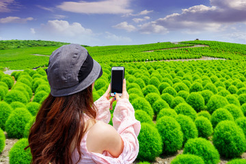 Wall Mural - Young woman take a photos at hitachi seaside park, Japan.